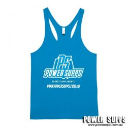 Power Supps Male T-Back Singlet Cyan Blue X Large