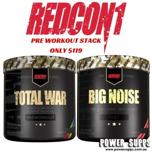 Redcon1 Pre Workout Stack List flavours in Checkout Notes Total War + Big Noise