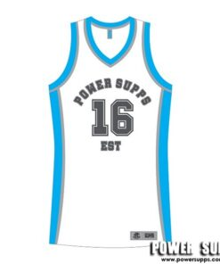Power Supps Basketball Jerseys White/Blue XXX Large