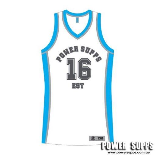Power Supps Basketball Jerseys White/Blue XXX Large